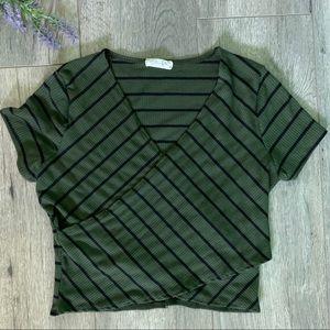 Green Black Striped Faux Wrap Crop Top